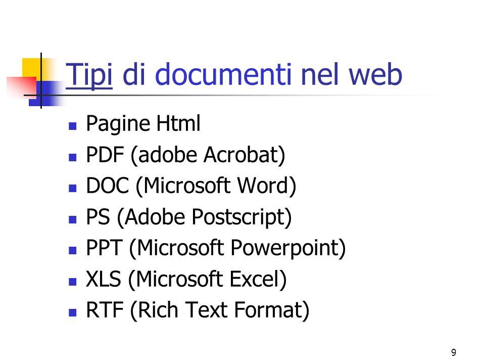 Tipi di documenti nel web