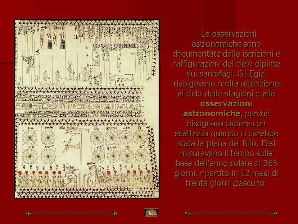 Le osservazioni astronomiche sono documentate dalle iscrizioni e raffigurazioni del cielo dipinte sui sarcofagi.