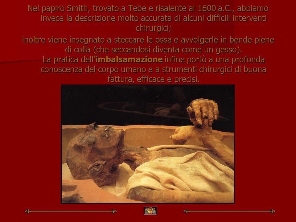 Nel papiro Smith, trovato a Tebe e risalente al 1600 a. C