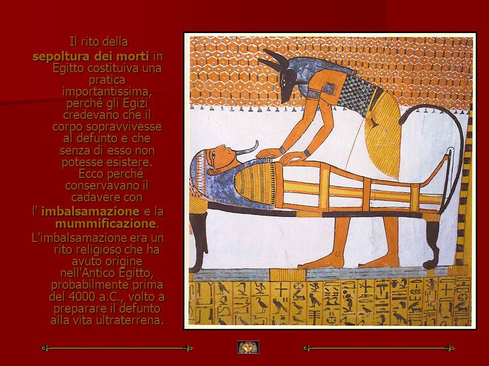 l imbalsamazione e la mummificazione.
