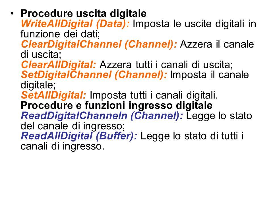 Procedure uscita digitale WriteAllDigital (Data): Imposta le uscite digitali in funzione dei dati; ClearDigitalChannel (Channel): Azzera il canale di uscita; ClearAllDigital: Azzera tutti i canali di uscita; SetDigitalChannel (Channel): Imposta il canale digitale; SetAllDigital: Imposta tutti i canali digitali.