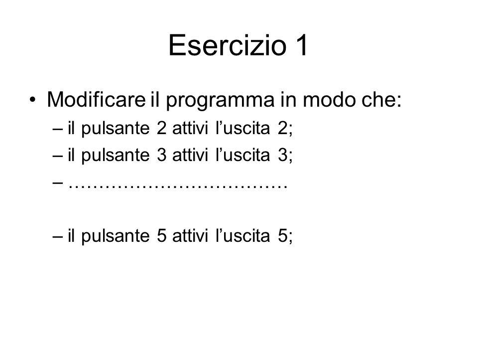 Esercizio 1 Modificare il programma in modo che: