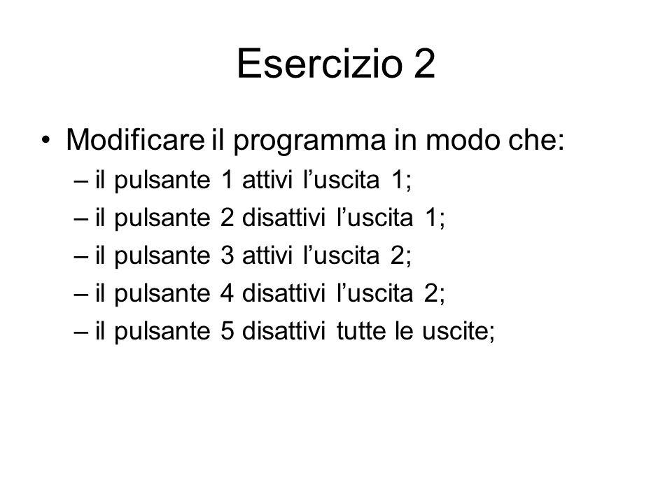 Esercizio 2 Modificare il programma in modo che:
