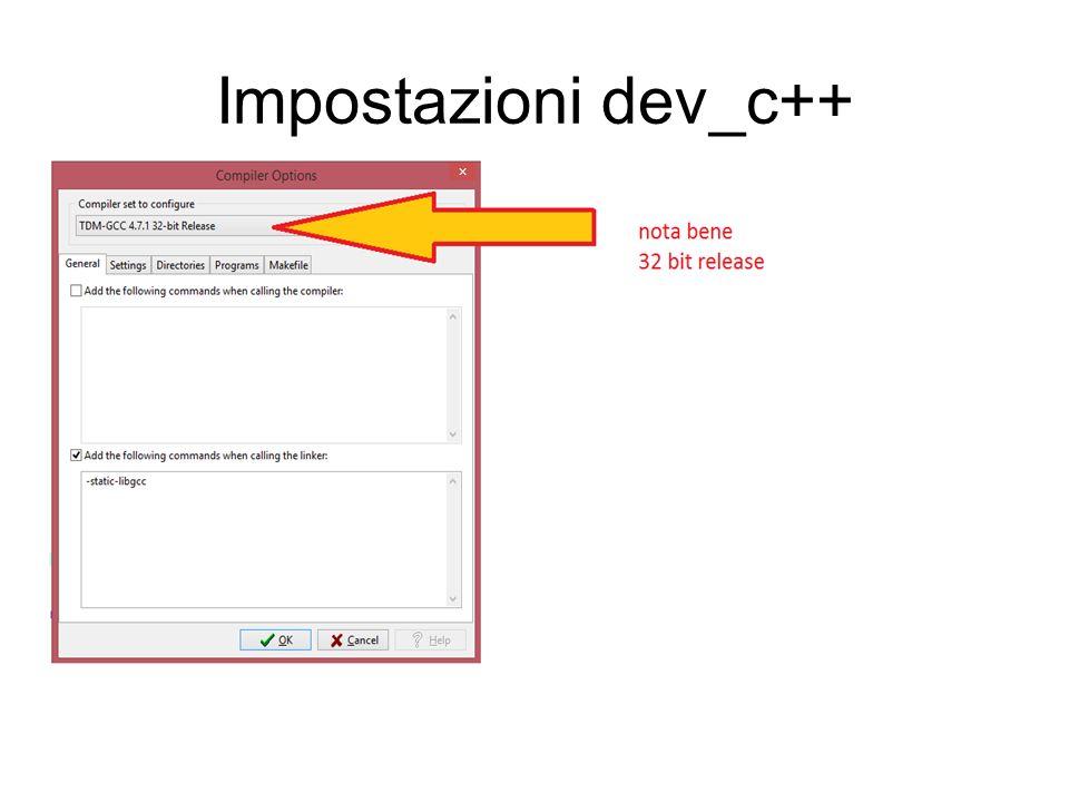 Impostazioni dev_c++