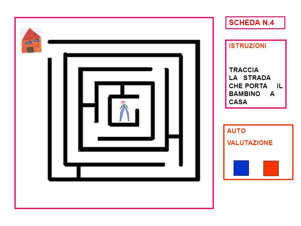 SCHEDA N.4 ISTRUZIONI TRACCIA LA STRADA CHE PORTA IL BAMBINO A CASA