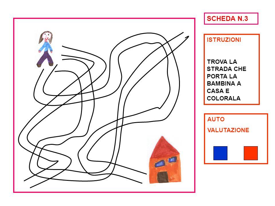 SCHEDA N.3 ISTRUZIONI TROVA LA STRADA CHE PORTA LA BAMBINA A CASA E COLORALA AUTO VALUTAZIONE