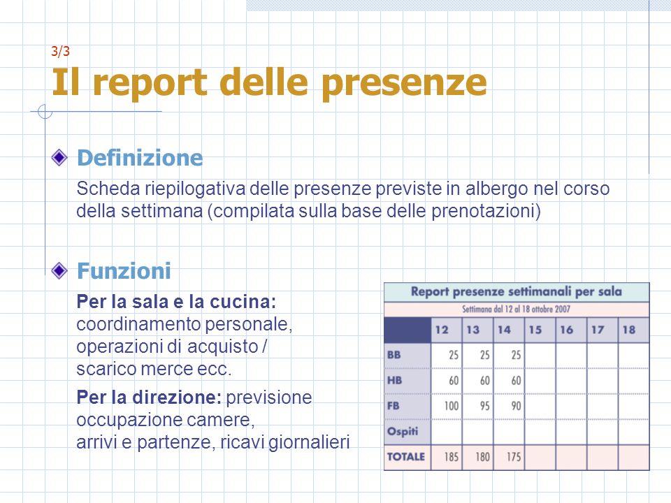 3/3 Il report delle presenze