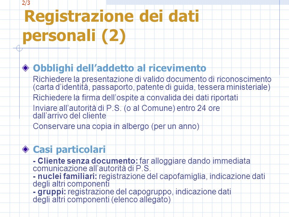2/3 Registrazione dei dati personali (2)
