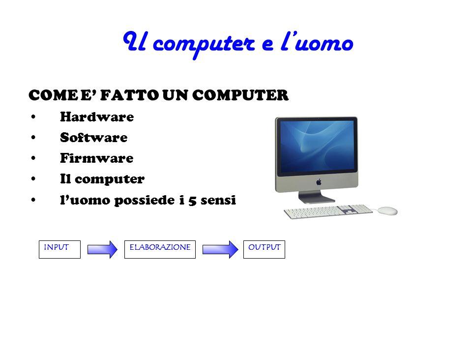 Il computer e l'uomo COME E' FATTO UN COMPUTER Hardware Software