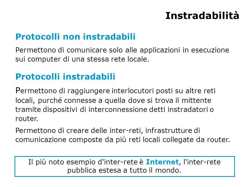 Instradabilità Protocolli non instradabili Protocolli instradabili