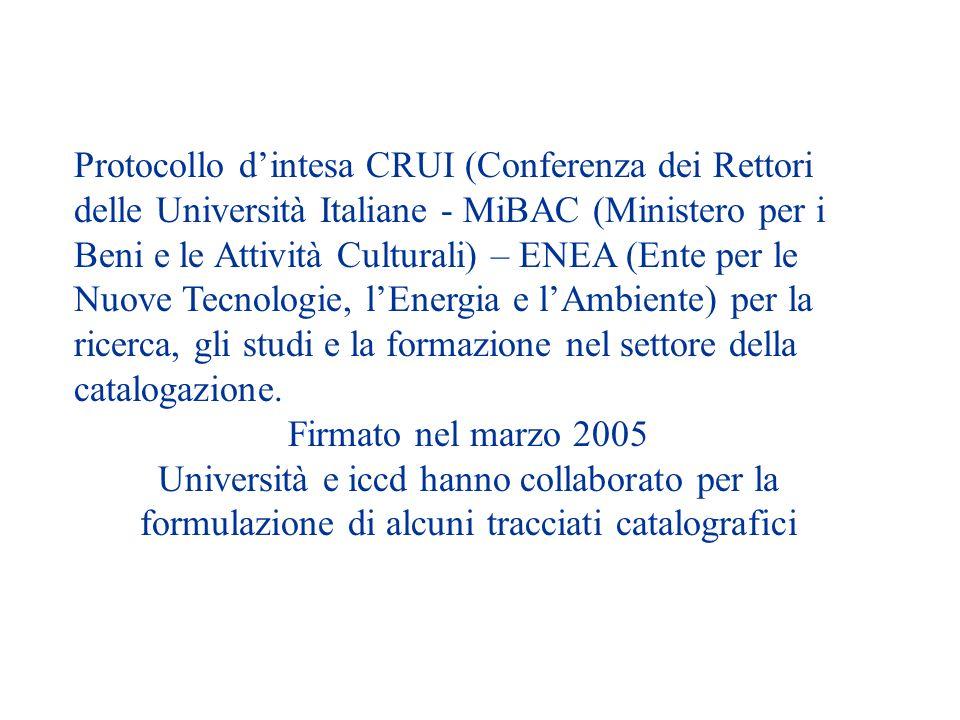 Protocollo d'intesa CRUI (Conferenza dei Rettori delle Università Italiane - MiBAC (Ministero per i Beni e le Attività Culturali) – ENEA (Ente per le Nuove Tecnologie, l'Energia e l'Ambiente) per la ricerca, gli studi e la formazione nel settore della catalogazione.