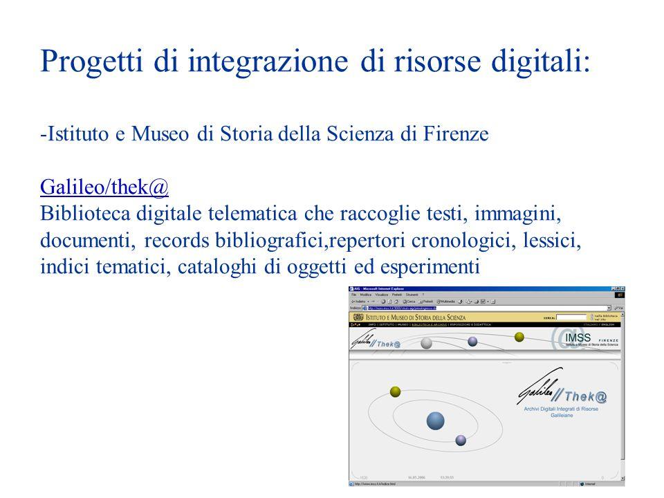 Progetti di integrazione di risorse digitali: