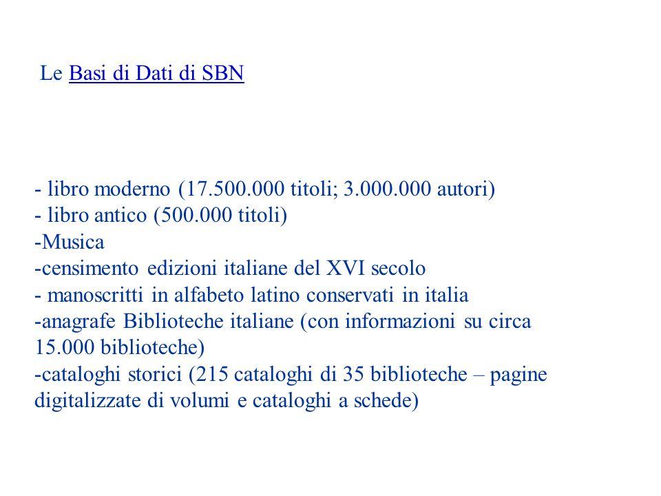 Le Basi di Dati di SBN libro moderno (17.500.000 titoli; 3.000.000 autori) libro antico (500.000 titoli)