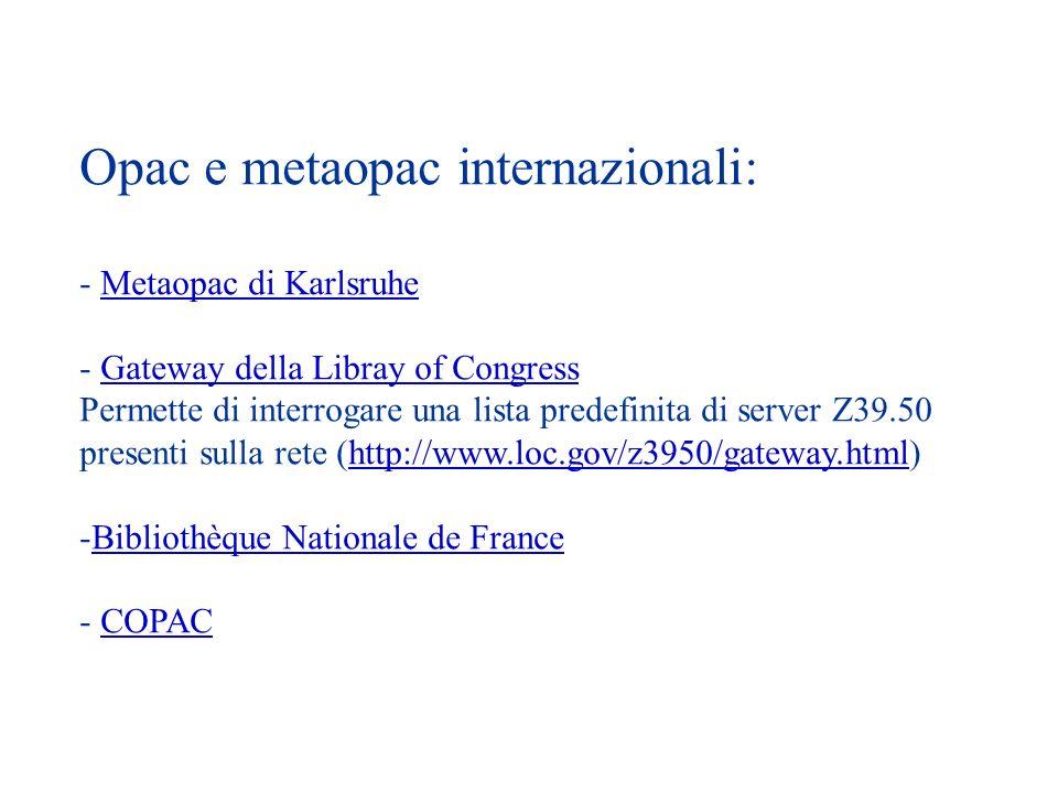 Opac e metaopac internazionali: