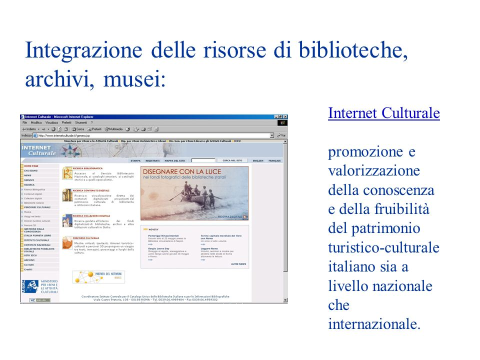 Integrazione delle risorse di biblioteche, archivi, musei: