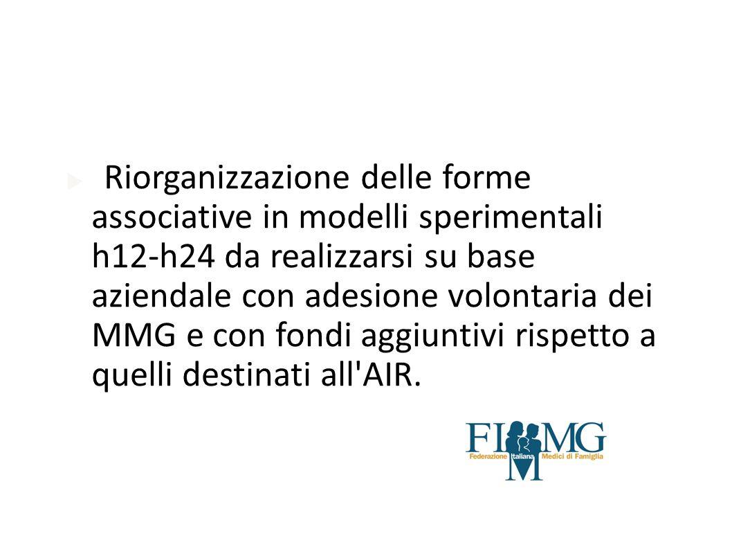 Riorganizzazione delle forme associative in modelli sperimentali h12-h24 da realizzarsi su base aziendale con adesione volontaria dei MMG e con fondi aggiuntivi rispetto a quelli destinati all AIR.