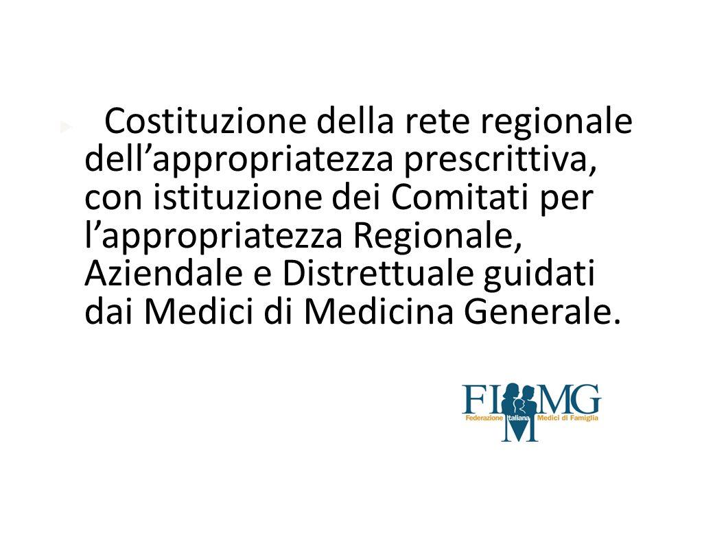 Costituzione della rete regionale dell'appropriatezza prescrittiva, con istituzione dei Comitati per l'appropriatezza Regionale, Aziendale e Distrettuale guidati dai Medici di Medicina Generale.