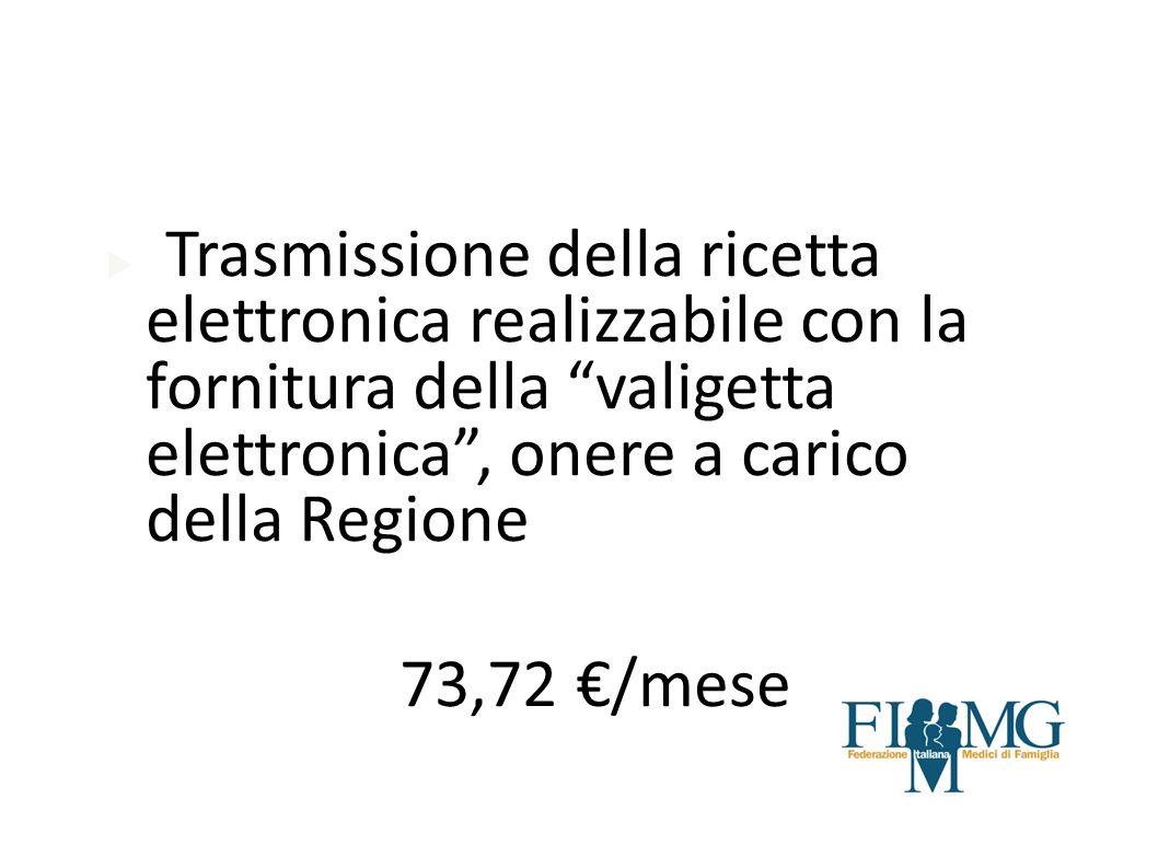 Trasmissione della ricetta elettronica realizzabile con la fornitura della valigetta elettronica , onere a carico della Regione