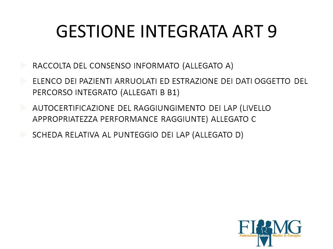 GESTIONE INTEGRATA ART 9