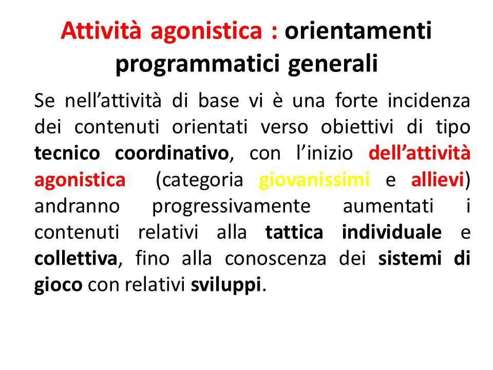 Attività agonistica : orientamenti programmatici generali