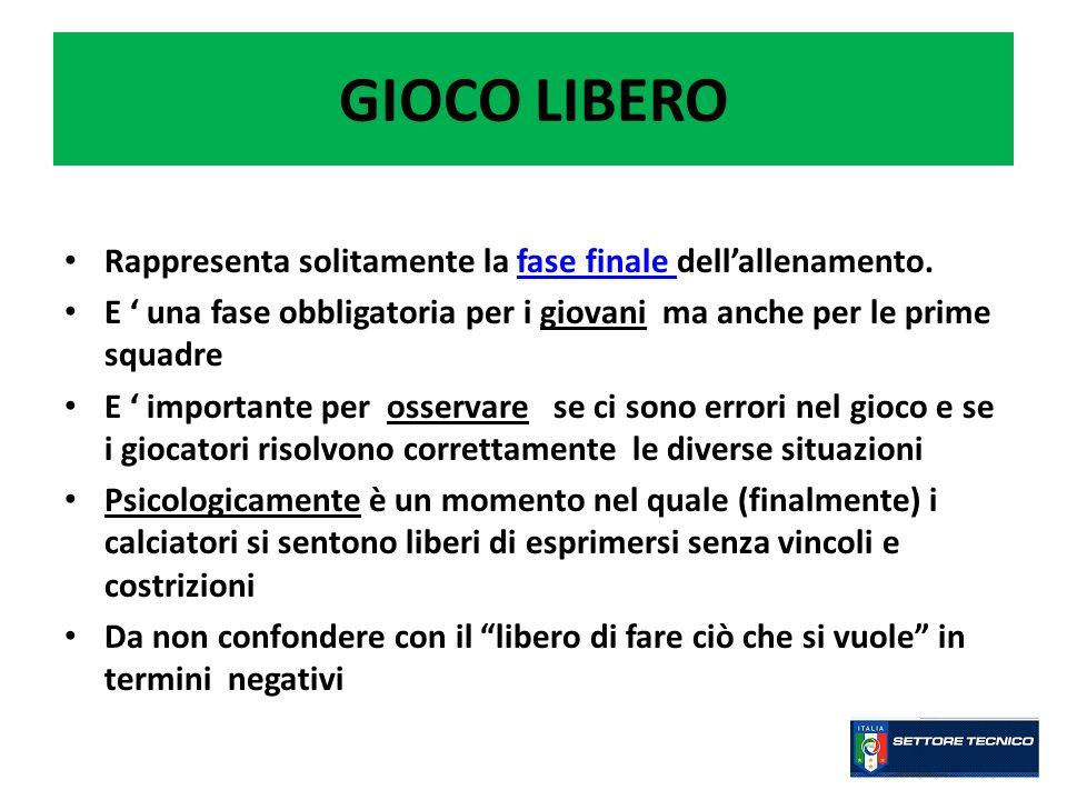 GIOCO LIBERO Rappresenta solitamente la fase finale dell'allenamento.