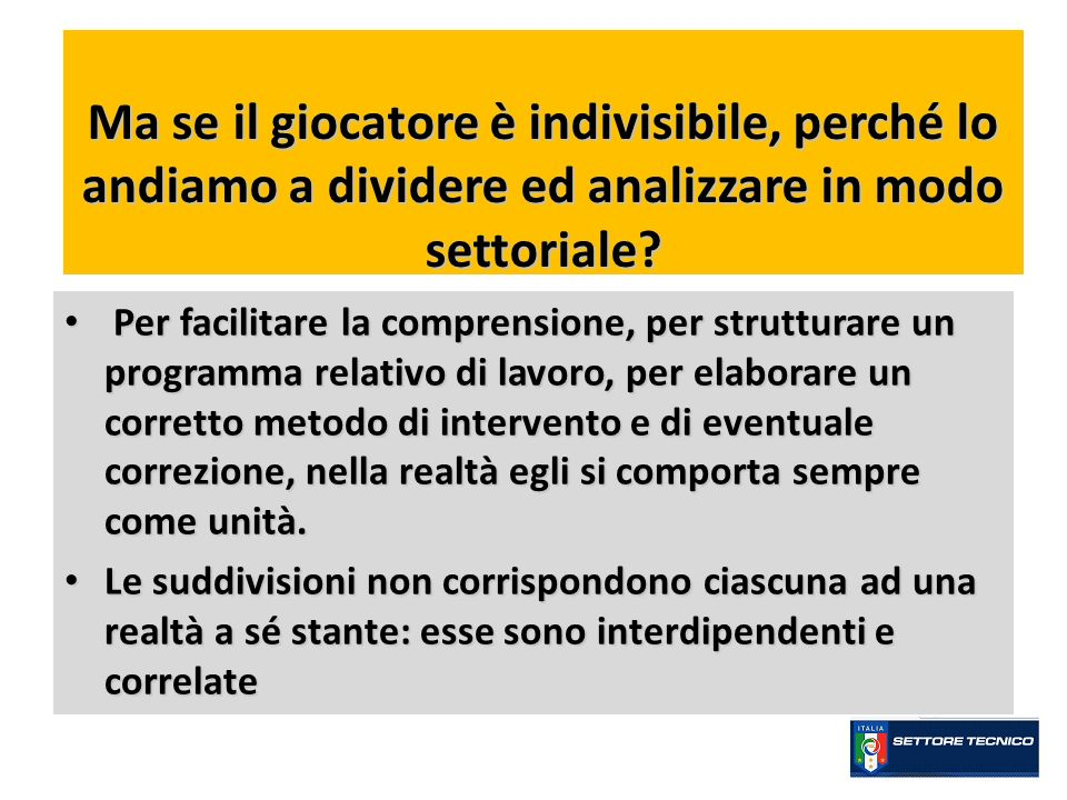 Ma se il giocatore è indivisibile, perché lo andiamo a dividere ed analizzare in modo settoriale