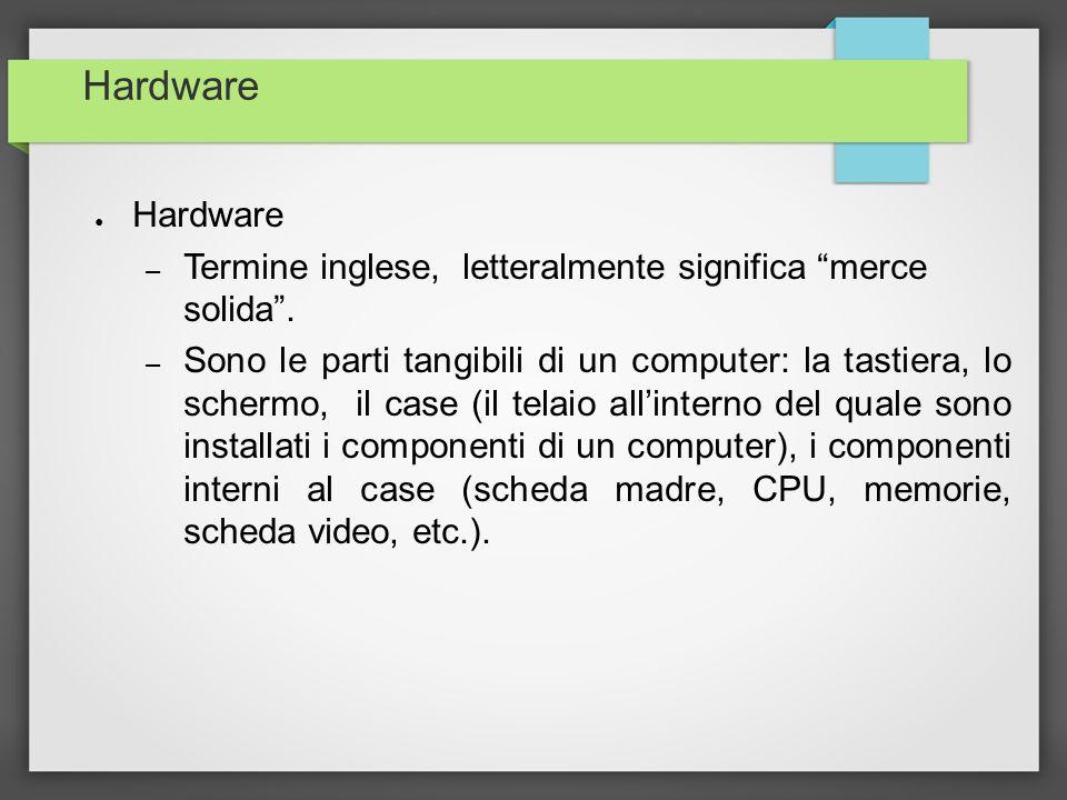 Hardware Hardware. Termine inglese, letteralmente significa merce solida .