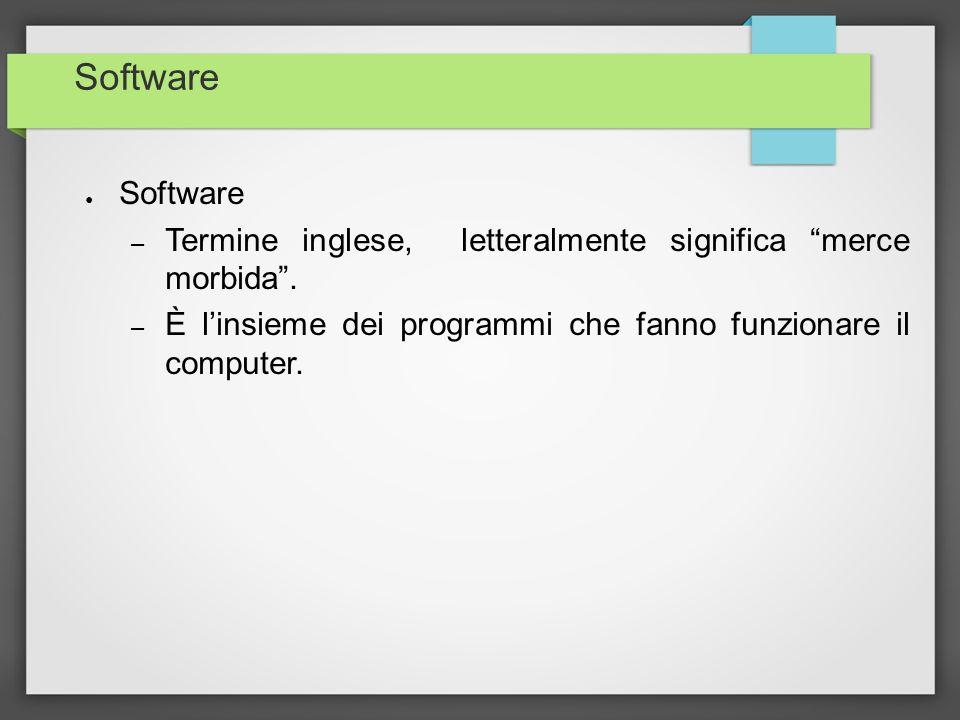 Software Software. Termine inglese, letteralmente significa merce morbida .