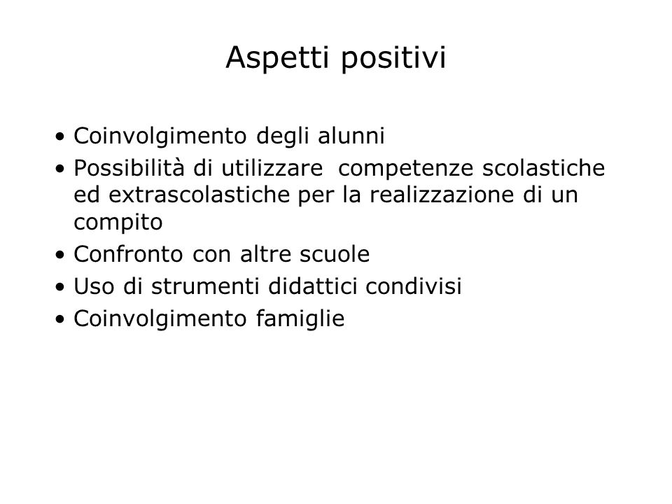 Aspetti positivi Coinvolgimento degli alunni