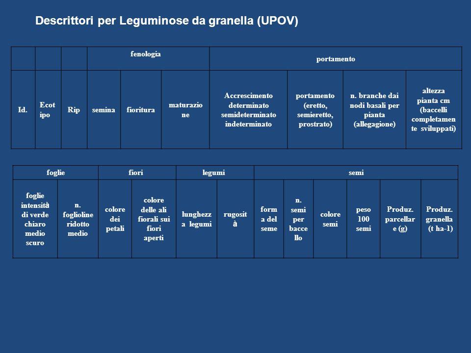 Descrittori per Leguminose da granella (UPOV)