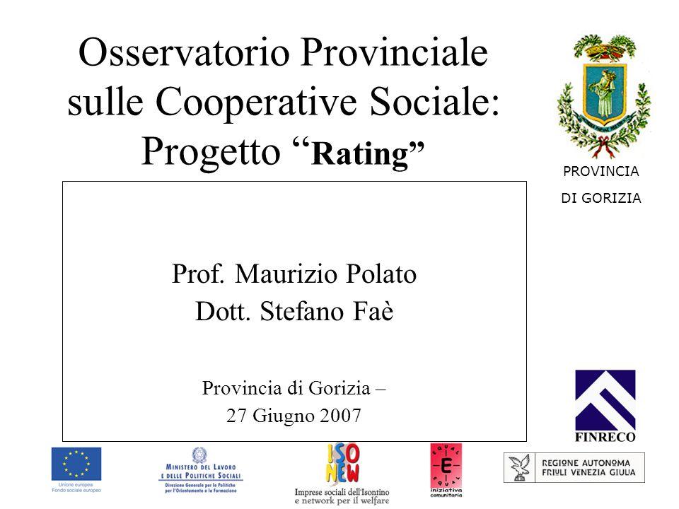 Osservatorio Provinciale sulle Cooperative Sociale: Progetto Rating