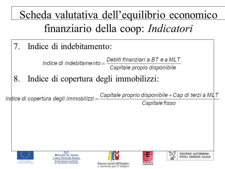 Scheda valutativa dell'equilibrio economico finanziario della coop: Indicatori