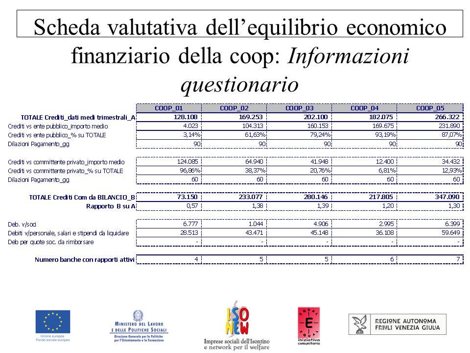 Scheda valutativa dell'equilibrio economico finanziario della coop: Informazioni questionario