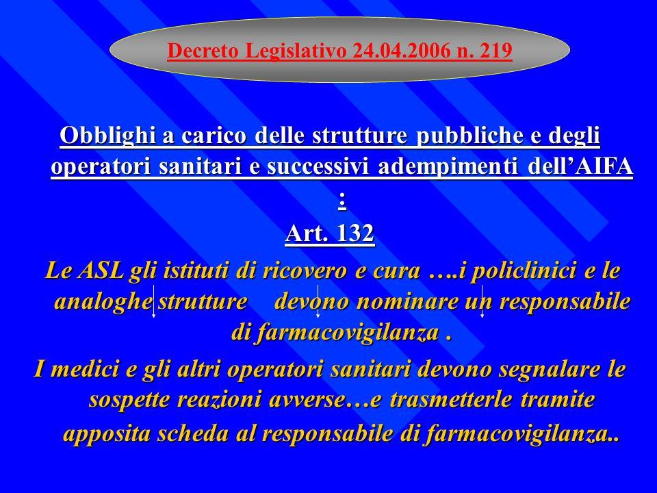 Decreto Legislativo 24.04.2006 n. 219 Obblighi a carico delle strutture pubbliche e degli operatori sanitari e successivi adempimenti dell'AIFA :