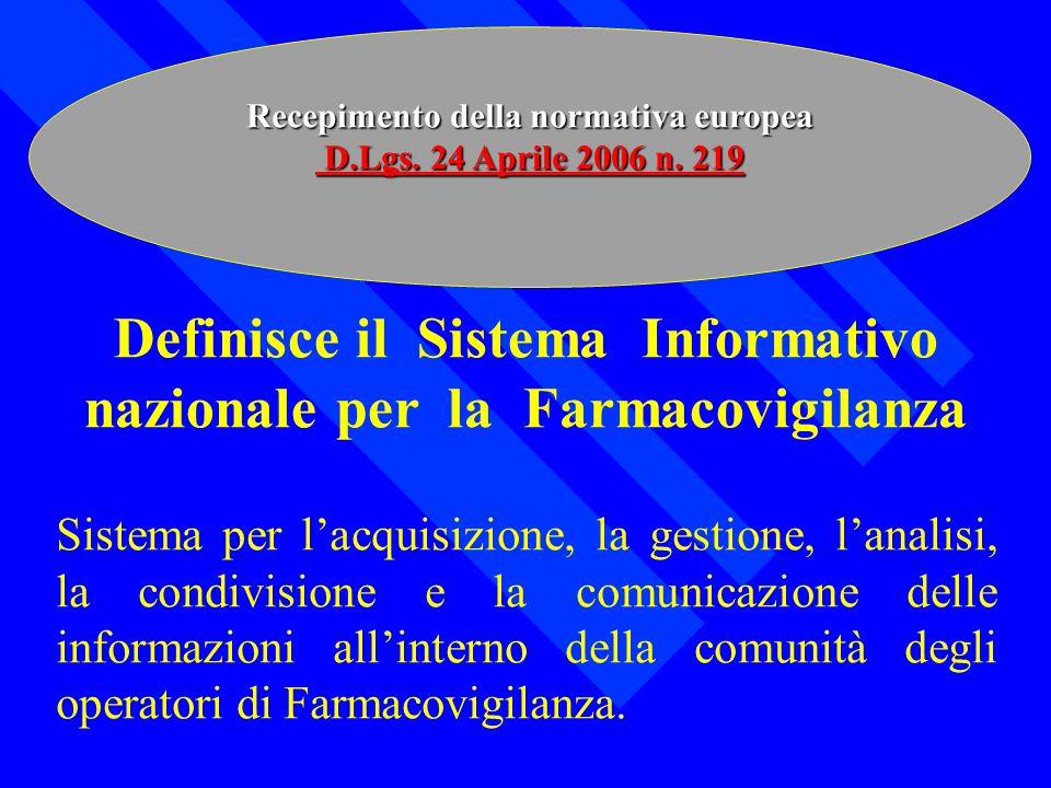 Definisce il Sistema Informativo nazionale per la Farmacovigilanza