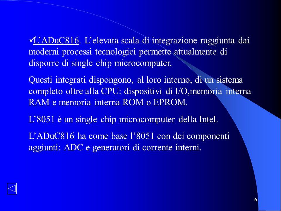 L'ADuC816. L'elevata scala di integrazione raggiunta dai moderni processi tecnologici permette attualmente di disporre di single chip microcomputer.
