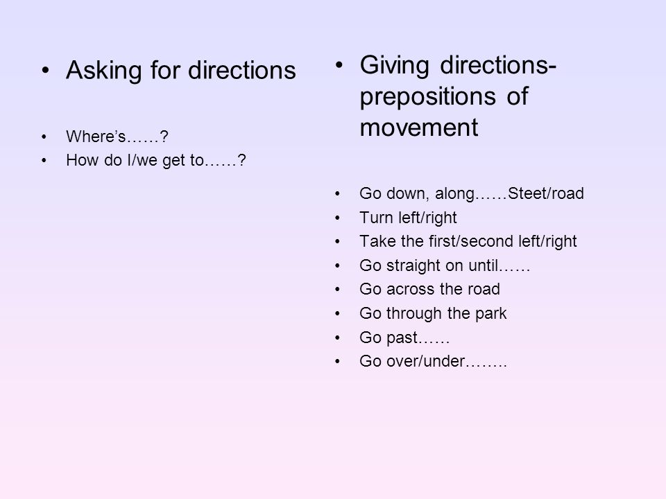 Giving directions-prepositions of movement Asking for directions