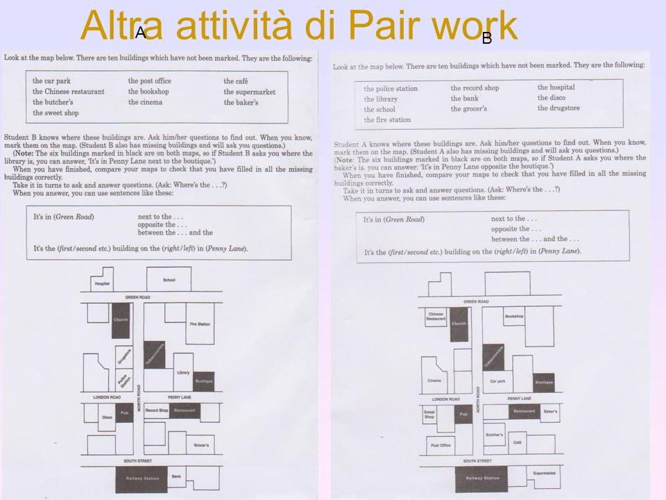 Altra attività di Pair work
