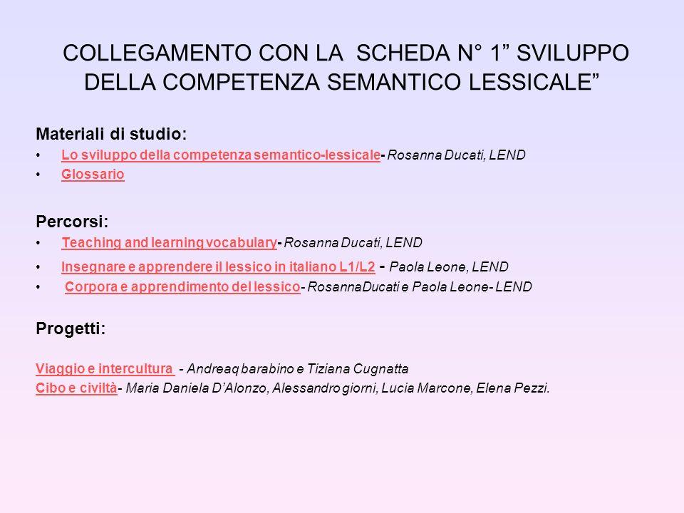 COLLEGAMENTO CON LA SCHEDA N° 1 SVILUPPO DELLA COMPETENZA SEMANTICO LESSICALE