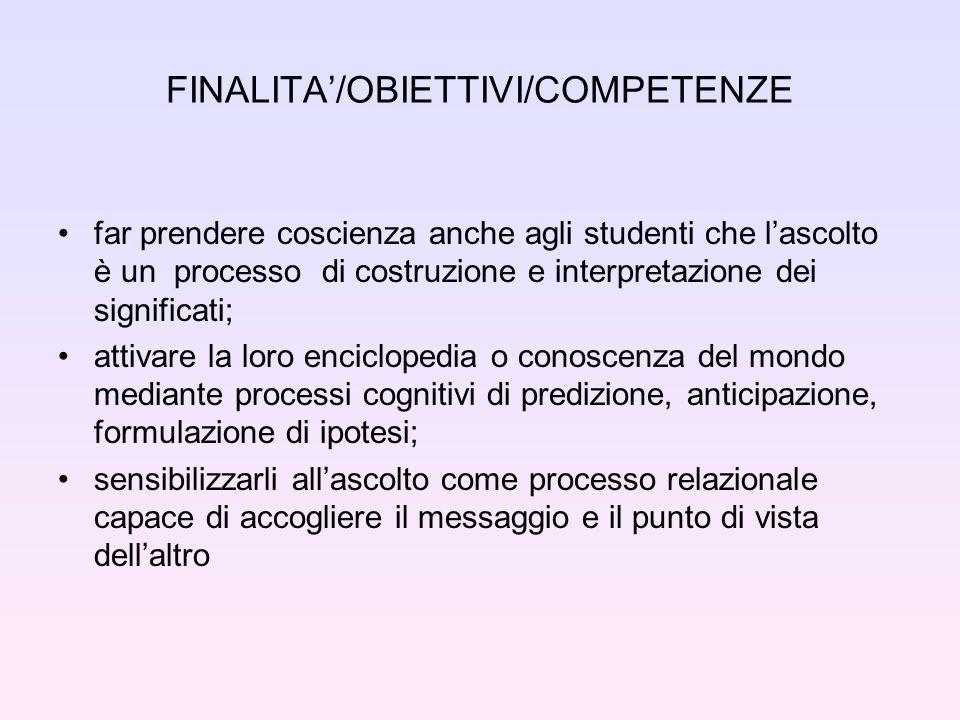 FINALITA'/OBIETTIVI/COMPETENZE