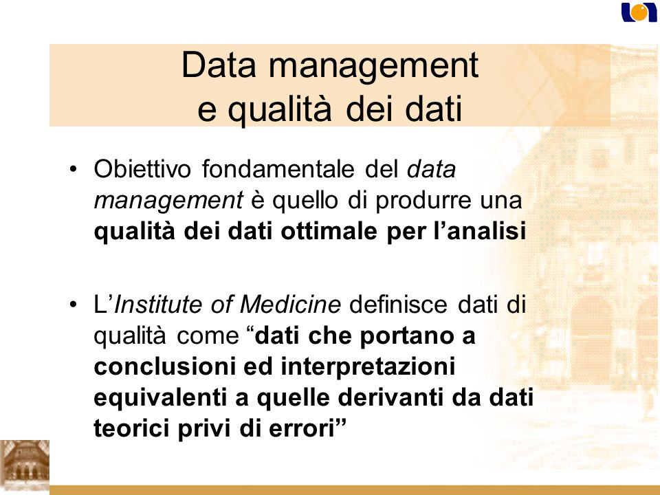 Data management e qualità dei dati