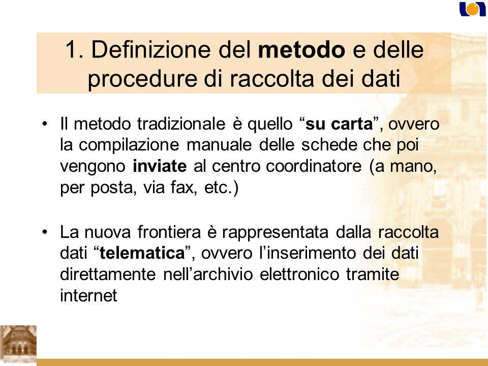 1. Definizione del metodo e delle procedure di raccolta dei dati