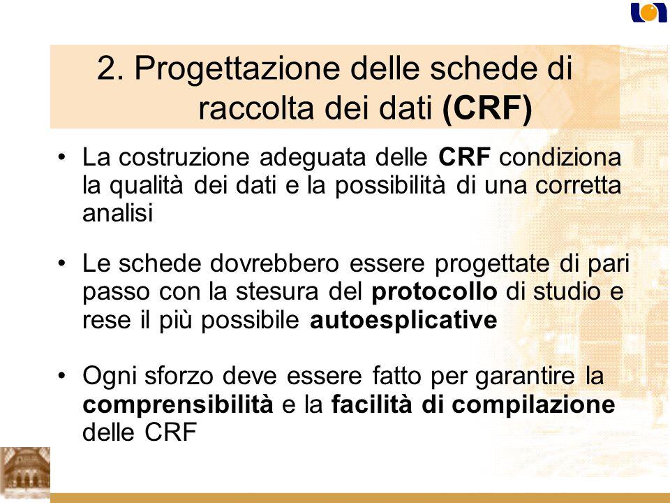 2. Progettazione delle schede di raccolta dei dati (CRF)
