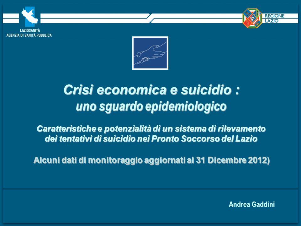 Crisi economica e suicidio : uno sguardo epidemiologico