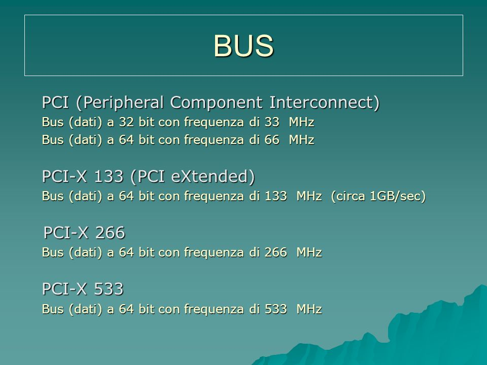 BUS PCI-X 266 PCI (Peripheral Component Interconnect)