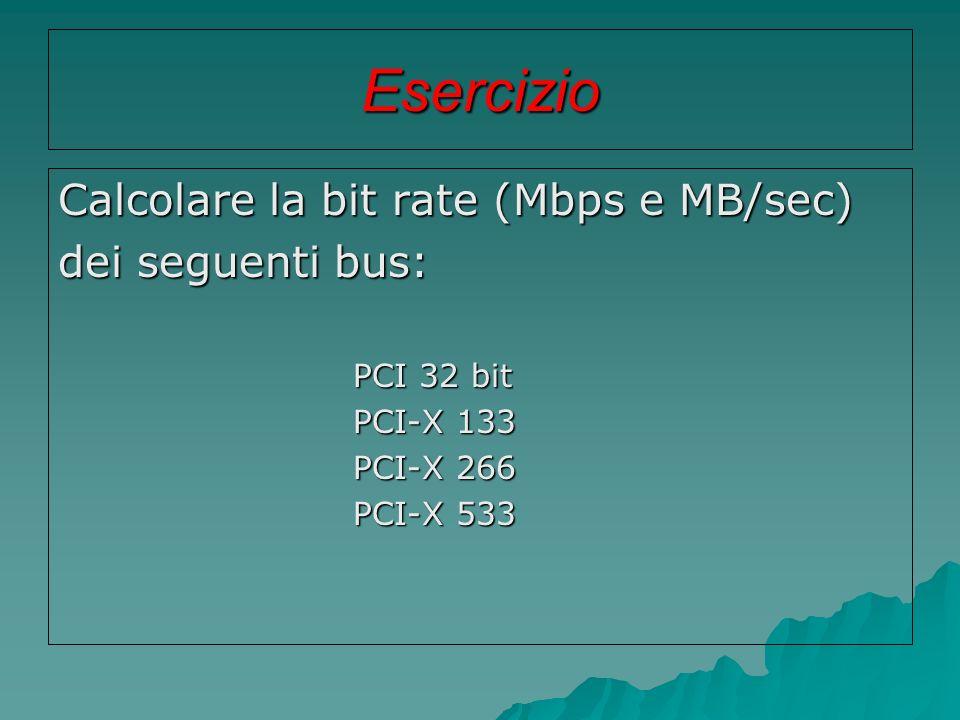 Esercizio Calcolare la bit rate (Mbps e MB/sec) dei seguenti bus: