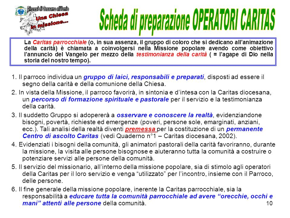 Scheda di preparazione OPERATORI CARITAS