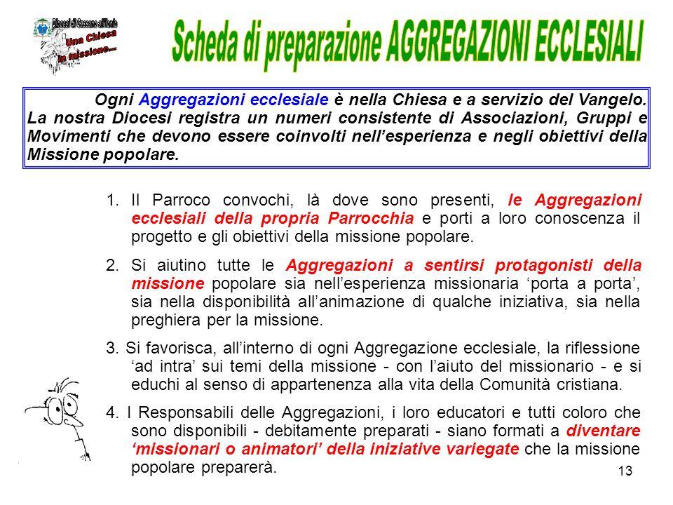 Scheda di preparazione AGGREGAZIONI ECCLESIALI