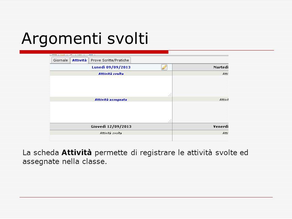 Argomenti svolti La scheda Attività permette di registrare le attività svolte ed assegnate nella classe.