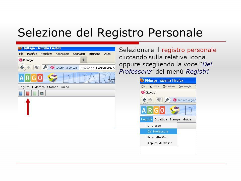 Selezione del Registro Personale